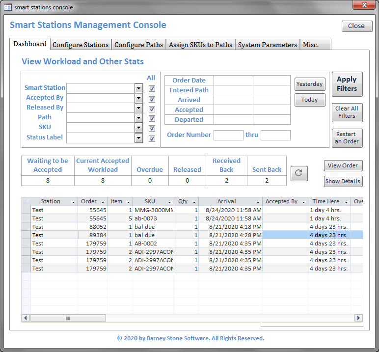 Smart Stations Console Dashboard