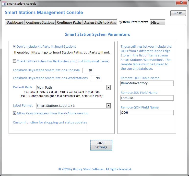 Smart Stations Console Parms
