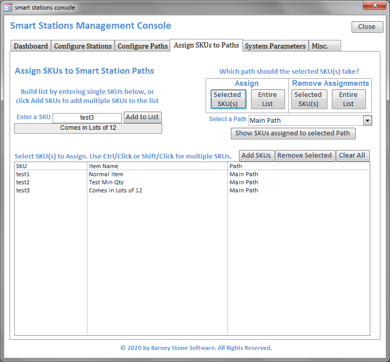 Smart Stations Console SKUs